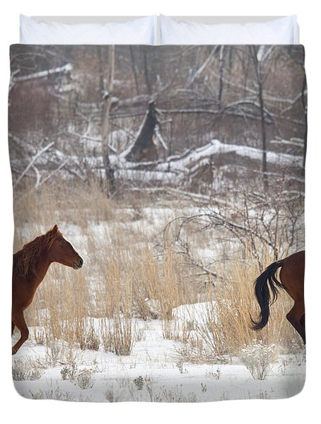 Follow The Leader Duvet Cover by Mike  Dawson