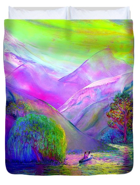 Duvet Cover featuring the painting  Love Is Following The Flow Together by Jane Small