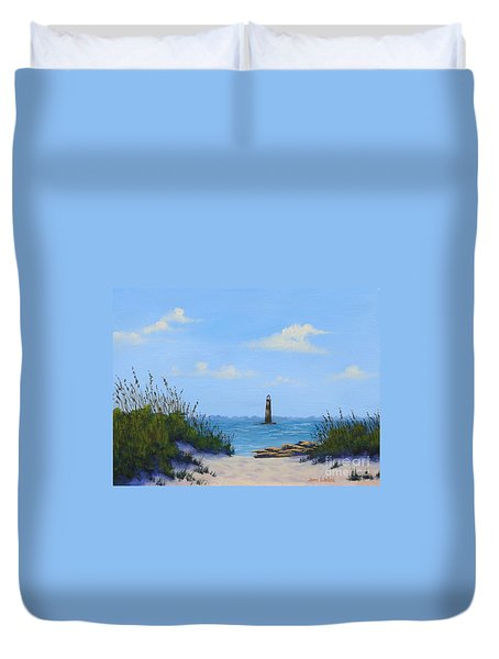 Folly Beach Lighthouse Duvet Cover