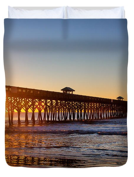 Folly Beach Pier At Sunrise Duvet Cover by Lynne Jenkins