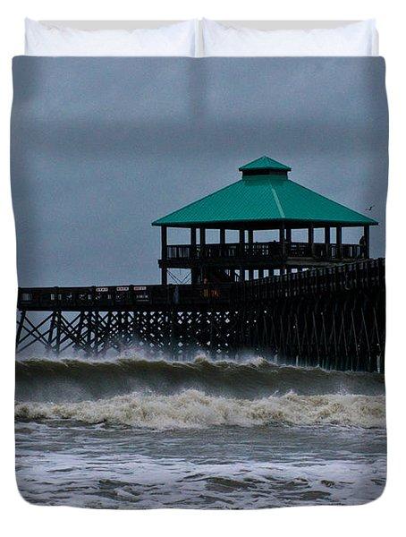 Folly Beach Pier During Sandy Duvet Cover