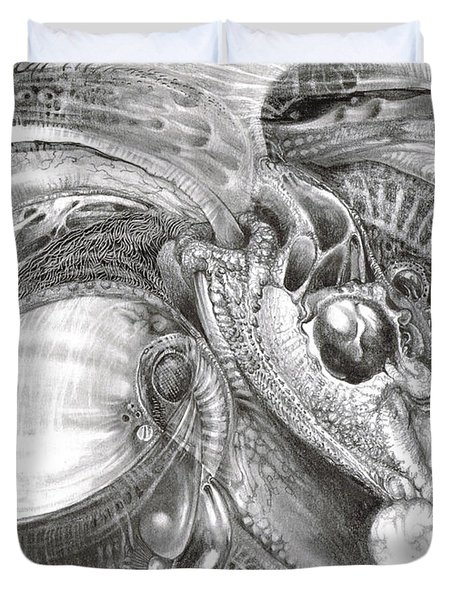 Duvet Cover featuring the drawing Fomorii Aliens by Otto Rapp