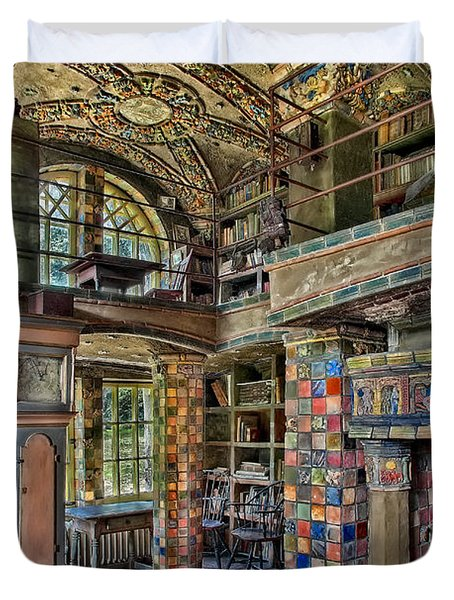 Fonthill Castle Library Room Duvet Cover by Susan Candelario
