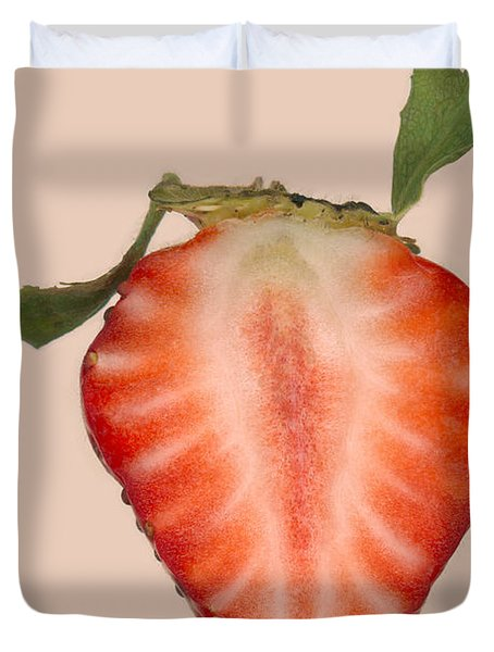 Food - Fruit - Slice Of Strawberry Duvet Cover by Mike Savad