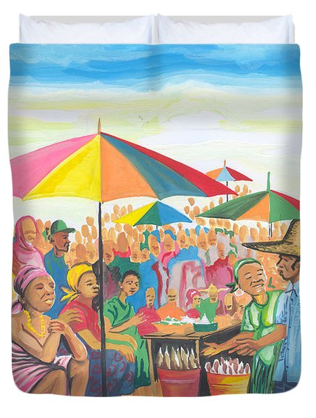 Food Market In Cameroon Duvet Cover by Emmanuel Baliyanga