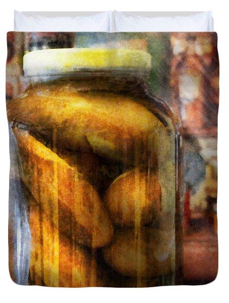 Food - Vegetable - A Jar Of Pickles Duvet Cover by Mike Savad