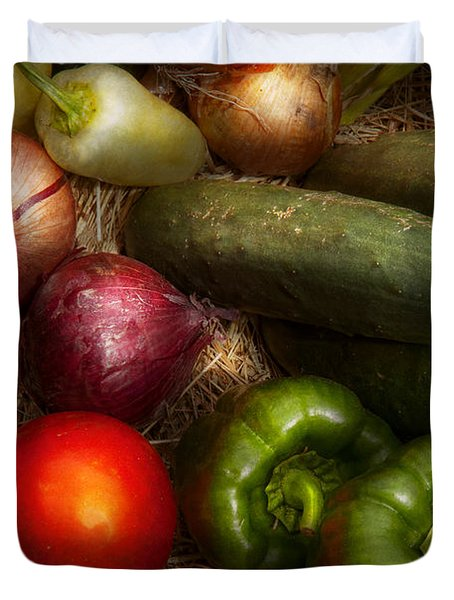 Food - Vegetables - Onions Tomatoes Peppers And Cucumbers Duvet Cover by Mike Savad
