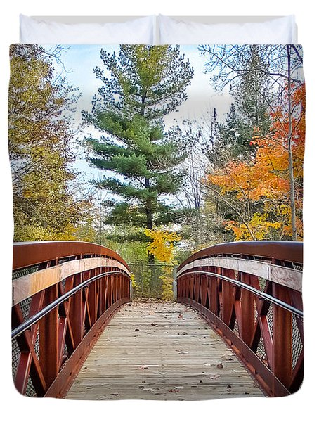 Foot Bridge In Fall Duvet Cover by Lars Lentz