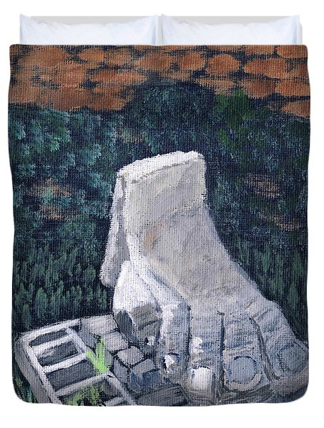 Duvet Cover featuring the painting Foot Statue-caesaria by Linda Feinberg