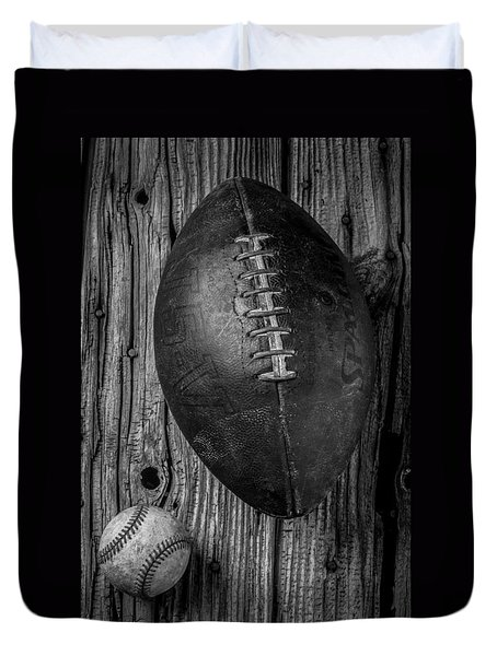 Football And Baseball Duvet Cover by Garry Gay