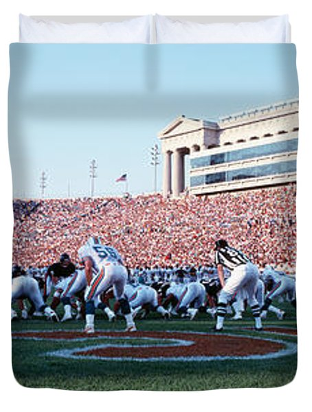 Football Game, Soldier Field, Chicago Duvet Cover by Panoramic Images