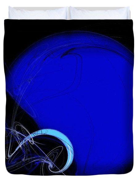 Football Helmet Blue Fractal Art 2 Duvet Cover by Andee Design