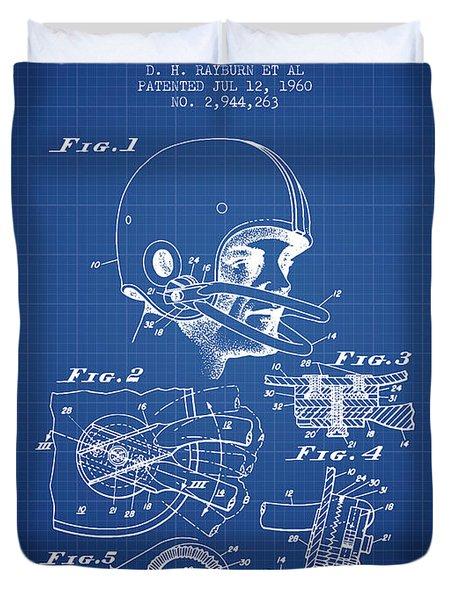 Football Helmet Patent From 1960 - Blueprint Duvet Cover