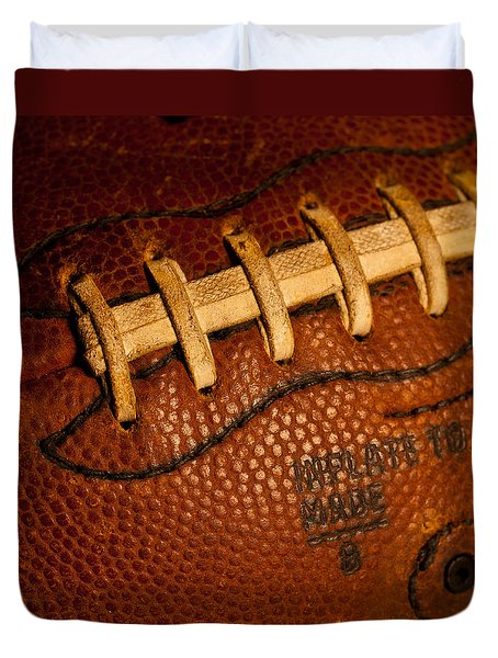 Football Laces Duvet Cover by David Patterson