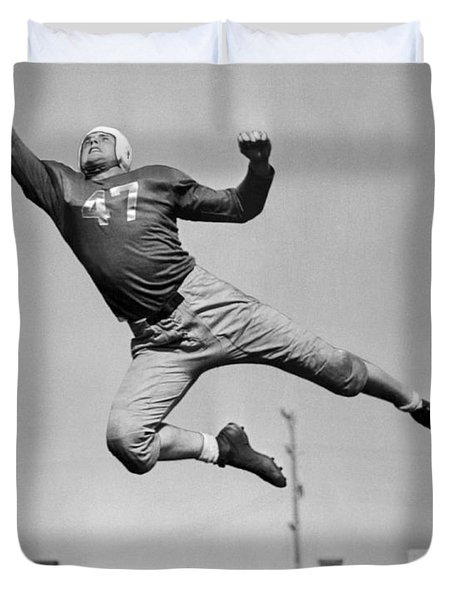 Football Player Catching Pass Duvet Cover