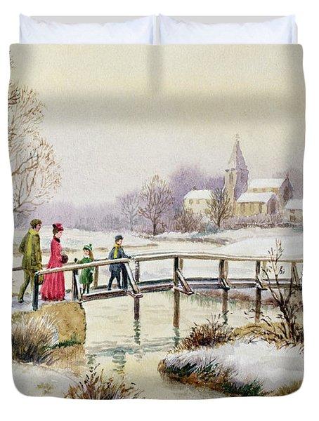 Footbridge In Winter Duvet Cover by Stanley Cooke