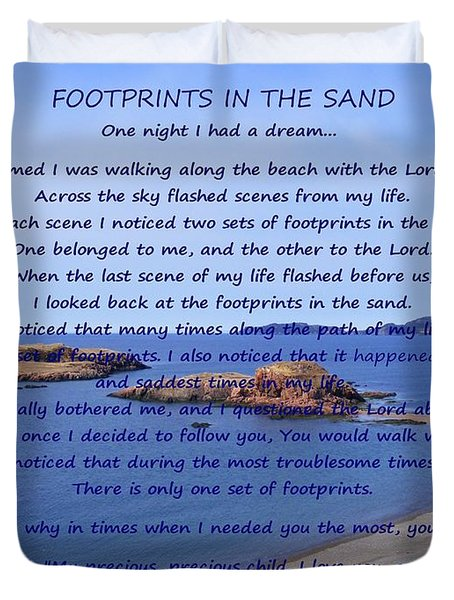 Footprints In The Sand 2 Duvet Cover