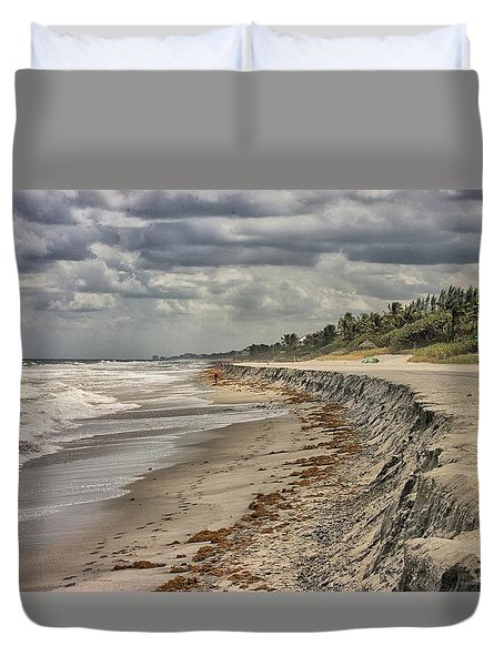 Footprints In The Sand Duvet Cover by Dennis Baswell