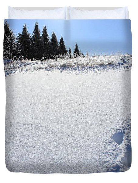 Footprints In The Snow Duvet Cover by Penny Meyers