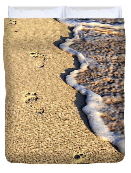 Footprints On Beach Duvet Cover