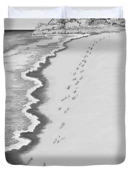 Duvet Cover featuring the digital art Footprints On Boca Beach by Carol Jacobs