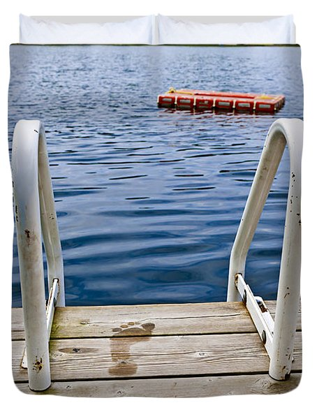Footprints On Dock At Summer Lake Duvet Cover