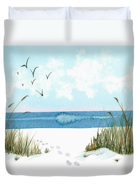 Footprints On The Beach In Blue And Green Duvet Cover