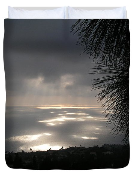 Footprints On The Ocean Duvet Cover by Bev Conover
