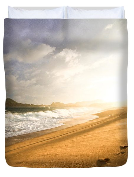 Duvet Cover featuring the photograph Footsteps In The Sand by Eti Reid