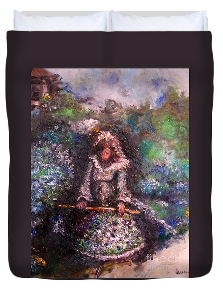 Duvet Cover featuring the painting For Grandma by Laurie Lundquist