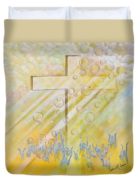 For The Cross Duvet Cover by Cassie Sears