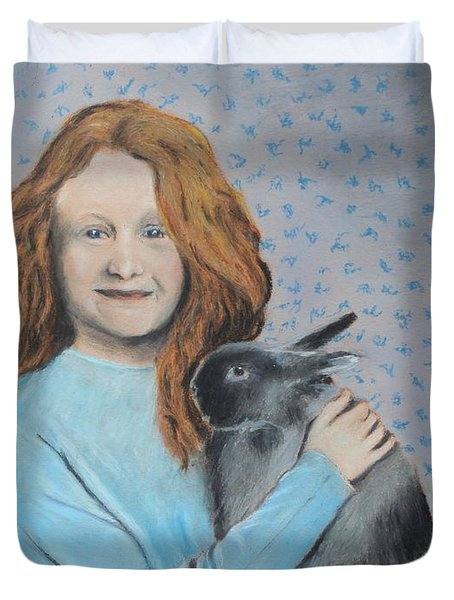 Duvet Cover featuring the painting For The Love Of Bunny by Jeanne Fischer