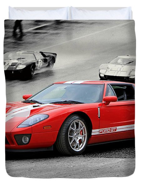 Ford Gt And Gt40 1966 Le Mans Win Duvet Cover