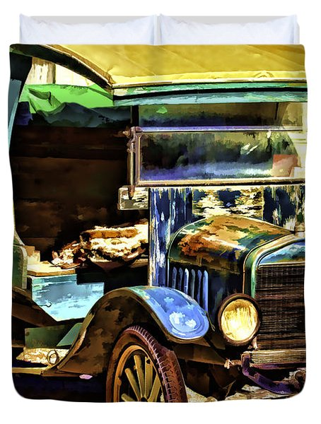 Duvet Cover featuring the painting Ford by Muhie Kanawati