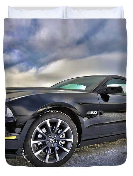 Duvet Cover featuring the photograph ford mustang car HDR by Paul Fearn