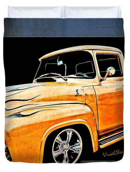 Ford Pickup In Flaming Gold Duvet Cover
