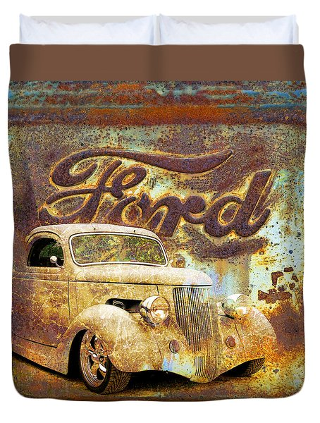 Ford Coupe Rust Duvet Cover by Steve McKinzie