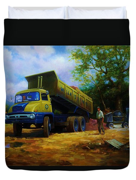 Ford Thames Trader Duvet Cover by Mike  Jeffries