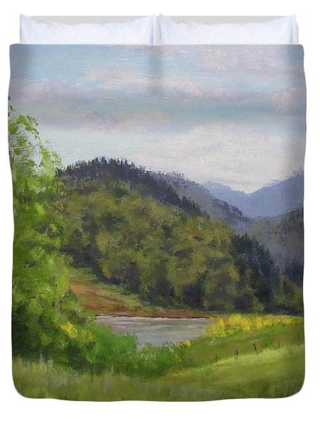 Ford's Pond In Spring Duvet Cover by Karen Ilari