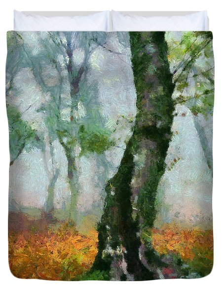 Duvet Cover featuring the painting Forest Edge by Elizabeth Coats