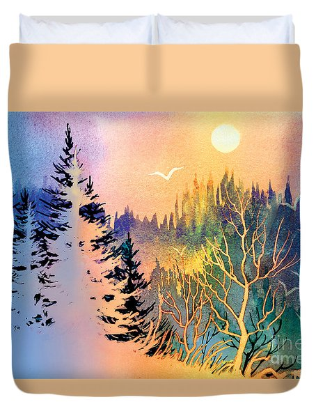 Duvet Cover featuring the painting Forest Fantasy by Teresa Ascone