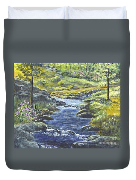 Duvet Cover featuring the painting Forest Glen Brook by Carol Wisniewski