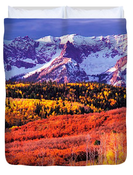 Forest In Autumn With Snow Covered Duvet Cover