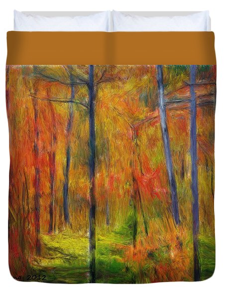Duvet Cover featuring the painting Forest In The Fall by Bruce Nutting