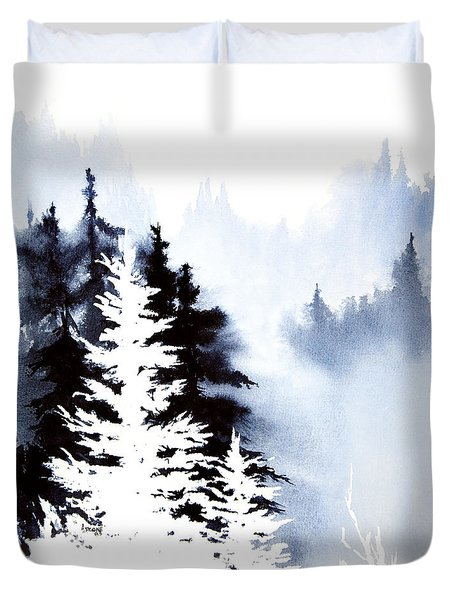 Duvet Cover featuring the painting Forest Indigo by Teresa Ascone