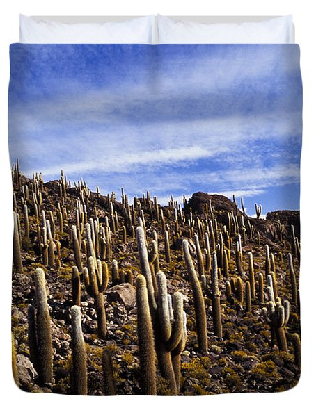 Duvet Cover featuring the photograph Forest Of Cacti by Lana Enderle