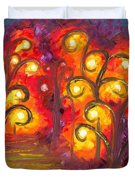 Duvet Cover Featuring The Painting Forest Of Fire Orbs By Jessilyn Park
