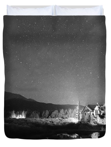 Forest Of Stars Above The Chapel On The Rock Bw Duvet Cover by James BO  Insogna