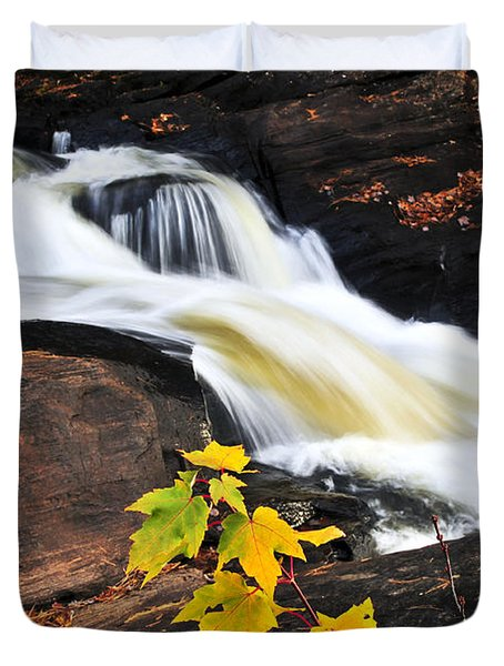 Forest River In The Fall Duvet Cover by Elena Elisseeva