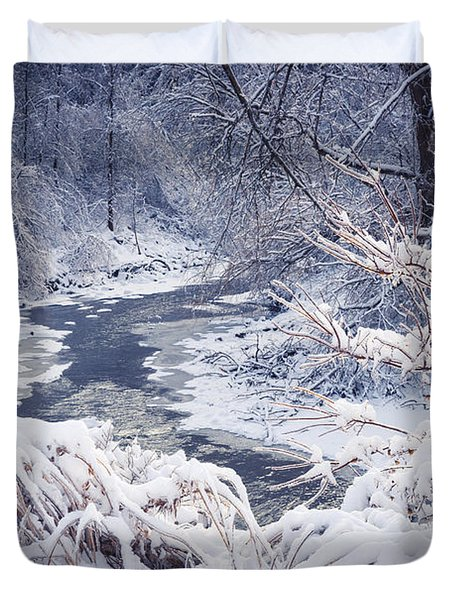 Forest River In Winter Snow Duvet Cover